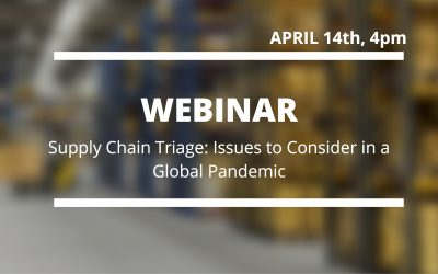 Webinar – Supply Chain Triage: Issues to Consider in a Global Pandemic